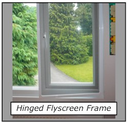 Flyscreen hinged frame